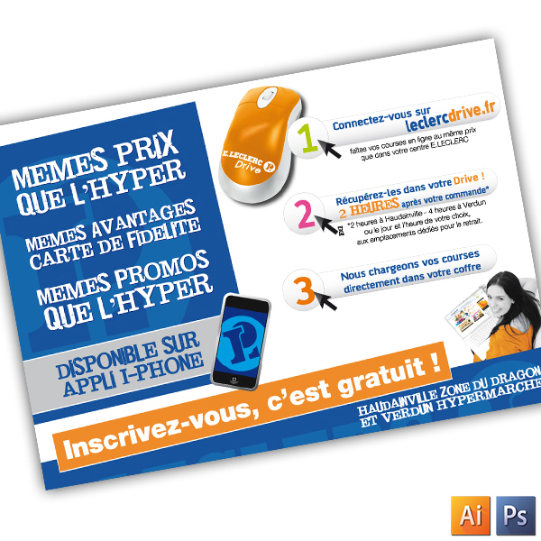Promotion mailing pour la mise en place LECLERC DRIVE